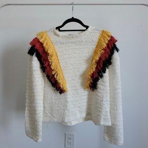 Zara Trafulac Multicolored Fringe Sweatshirt